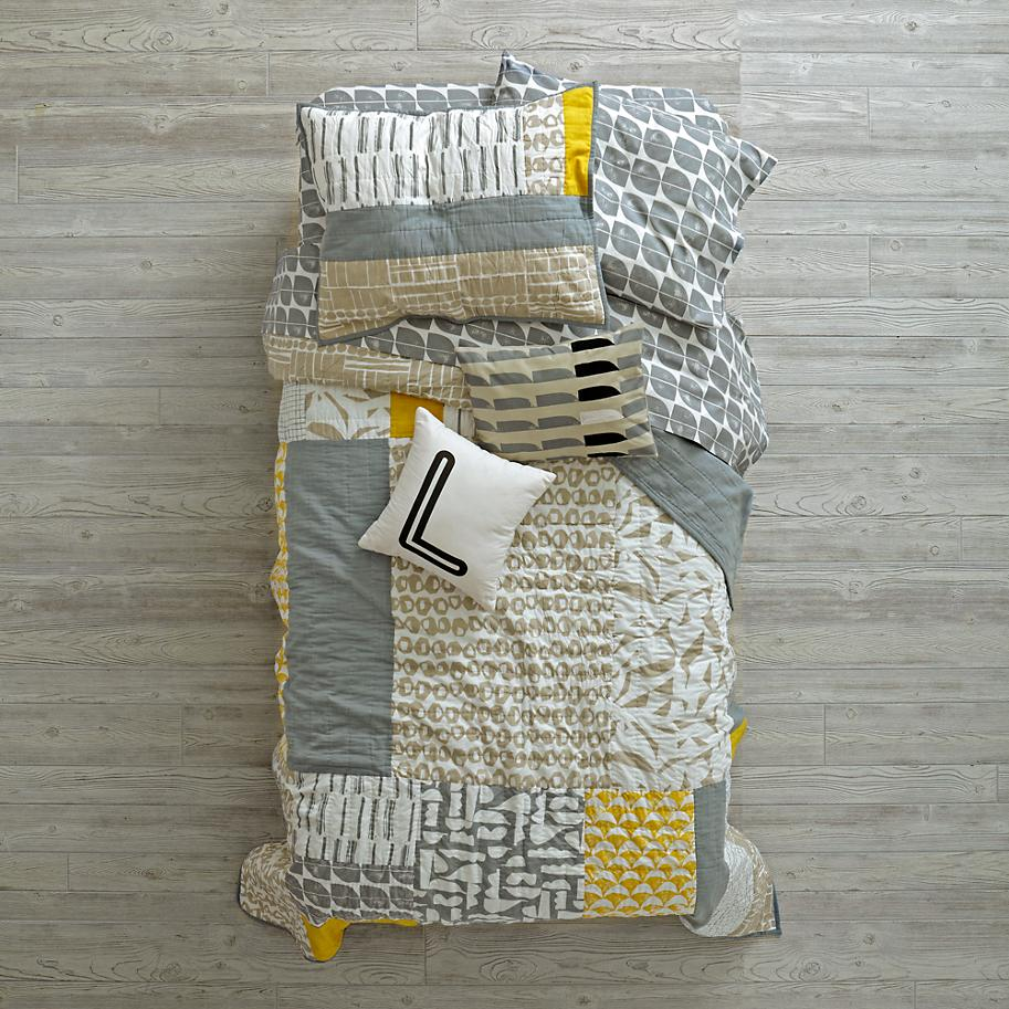 Abstract modern bedding from The Land of Nod