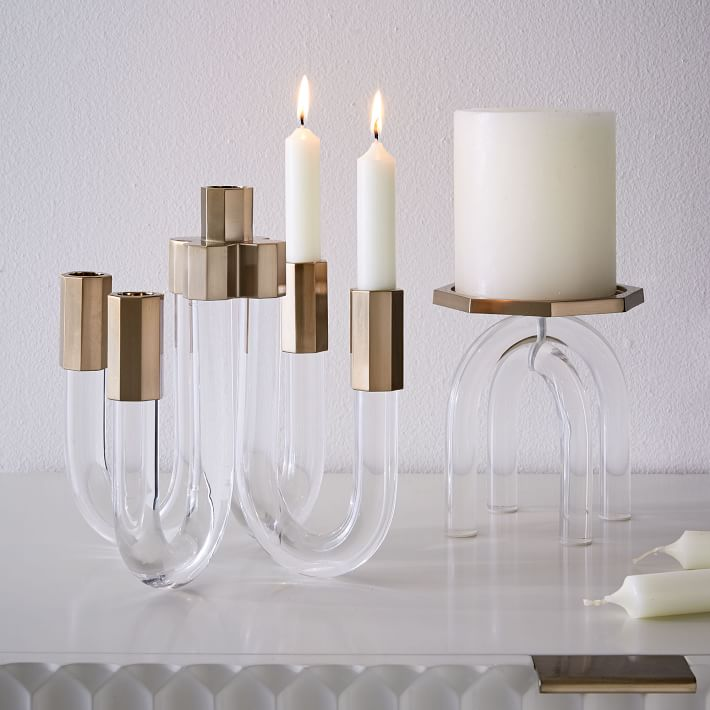 Acrylic and brass candleholders from West Elm