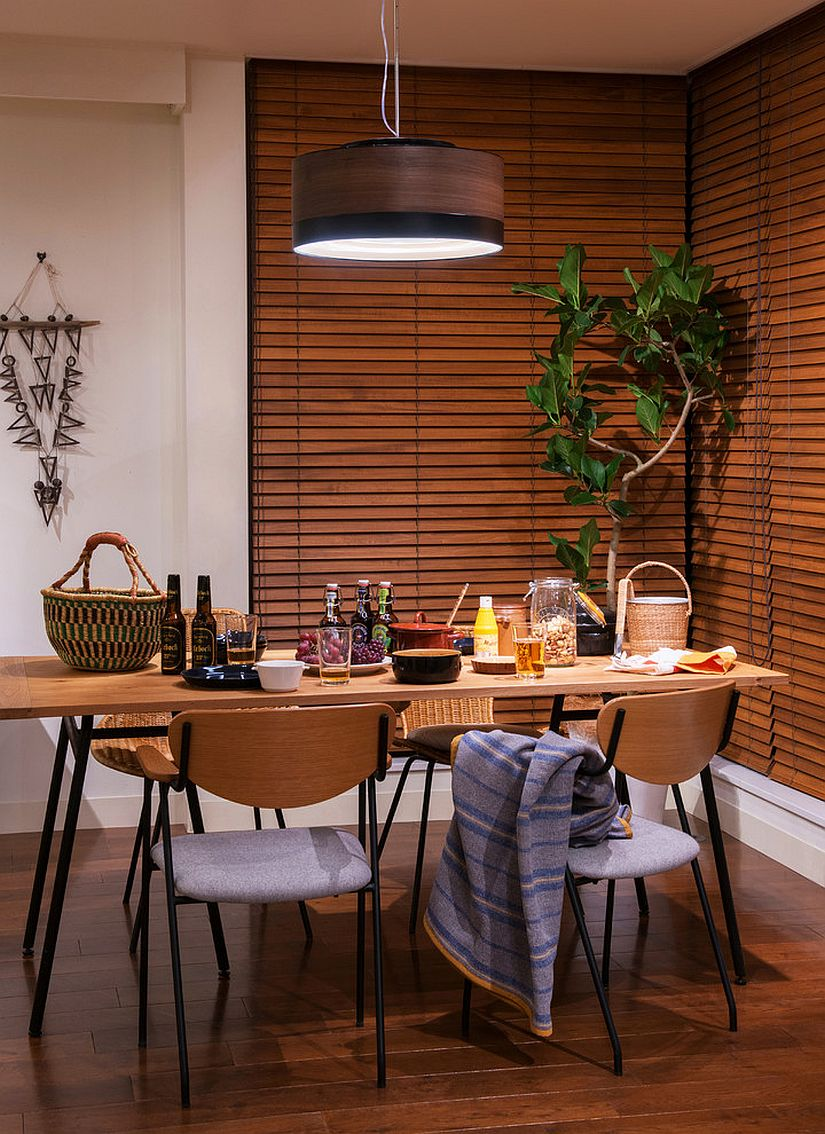 Add natural elements to give Japanese style dining room a more organic appeal [From: fjic]