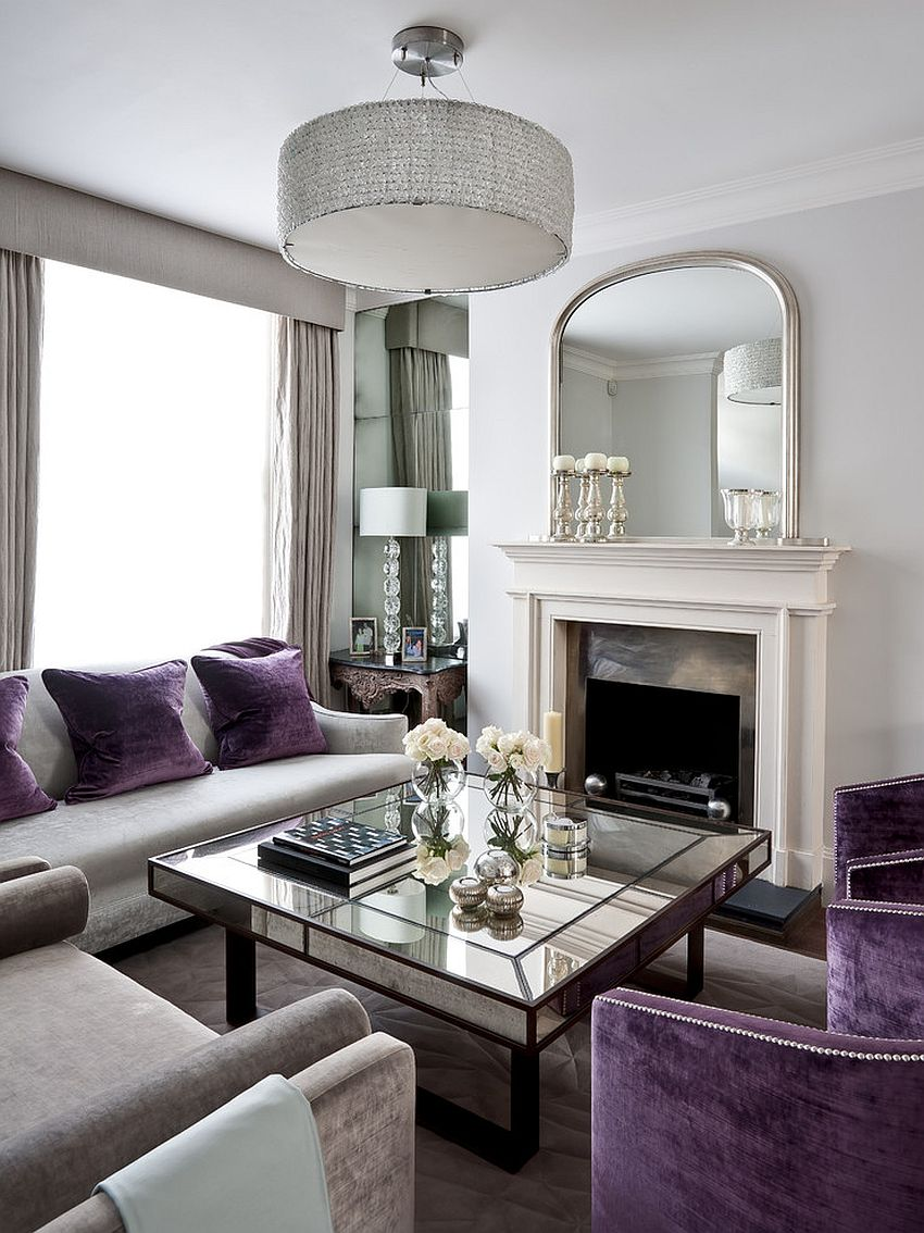 Living room table decorations -  Art Deco Living Room With Splashes Of Purple And Mirrored Coffee Table Design Gemma