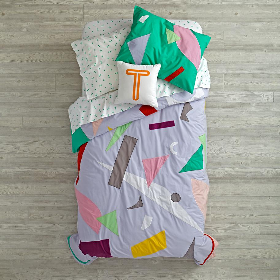 Art collage bedding from The Land of Nod