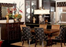 Asian contemporary dining room with plenty of black