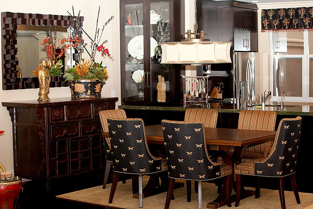 Asian contemporary dining room with plenty of black [Design: Joyce Bright Interiors]