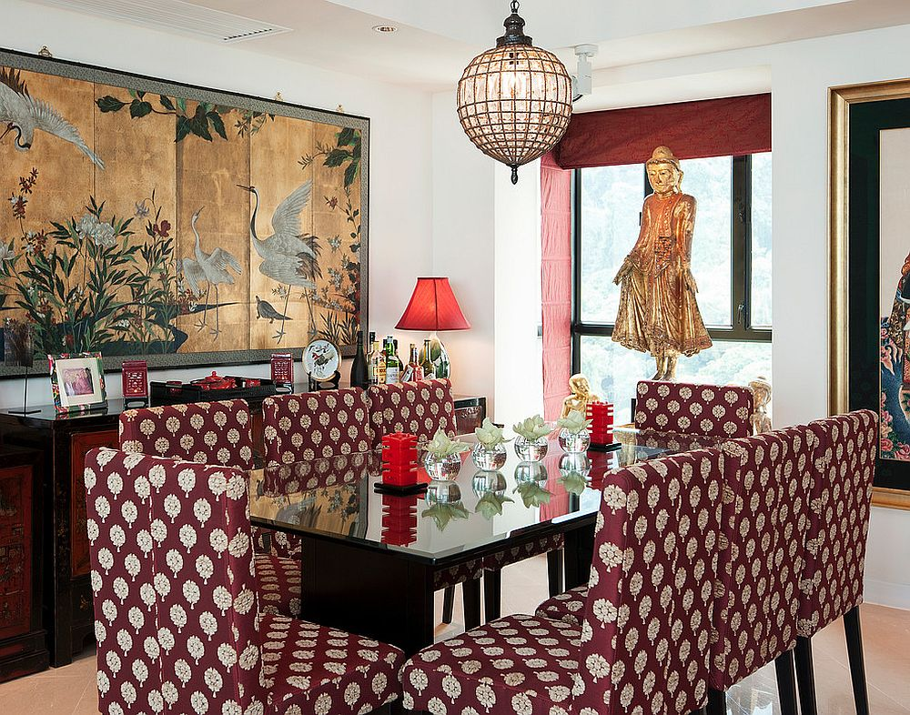 Asian inspired dining room filled with color and pattern [From: Ryan Fung Photography]