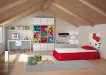Attic kids' bedroom with custom Hello Kitty bed