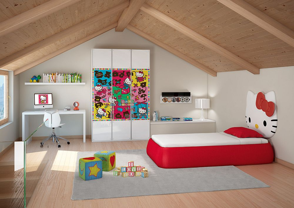 Attic kids' bedroom with custom Hello Kitty bed
