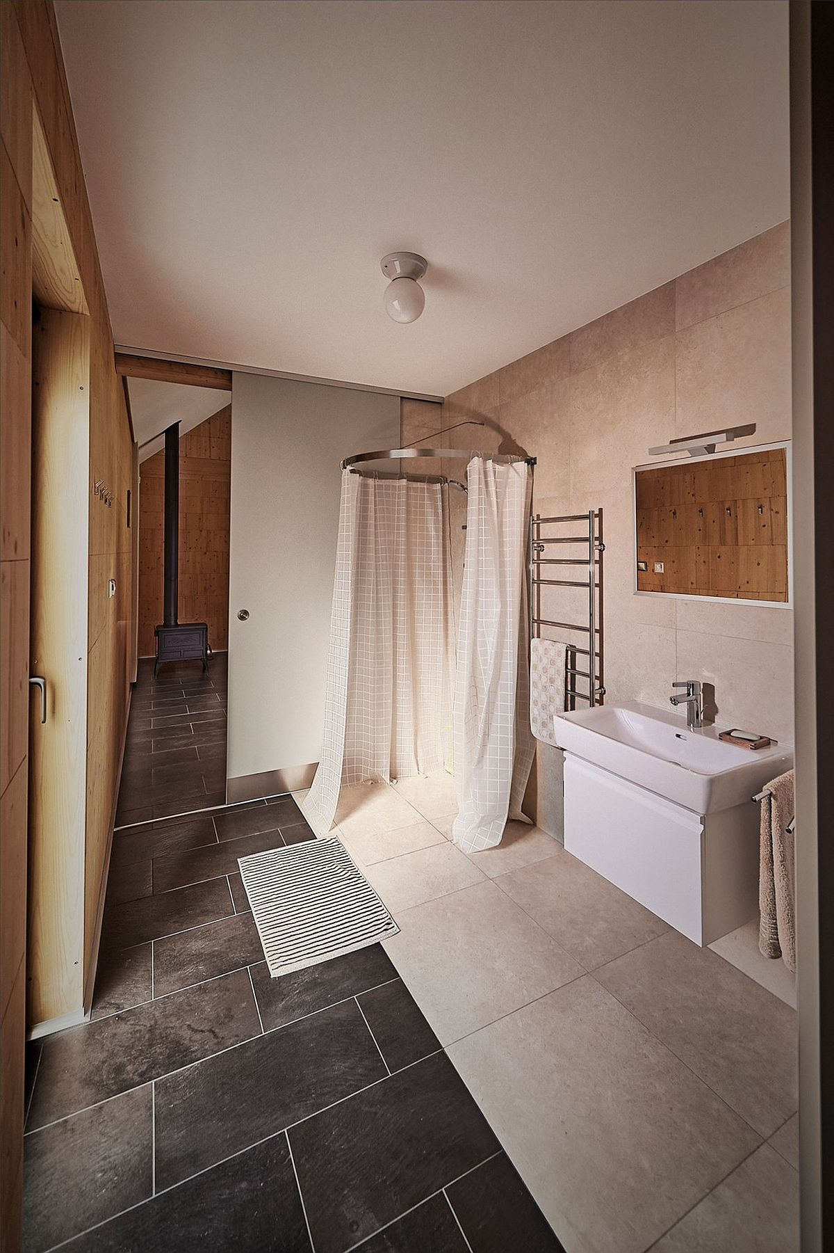 Bathroom and corner shower zone