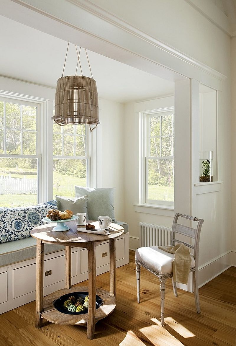 ... Beach Style Corner Breakfast Zone With Banquette That Also Offers  Hidden Storage Space [Design: