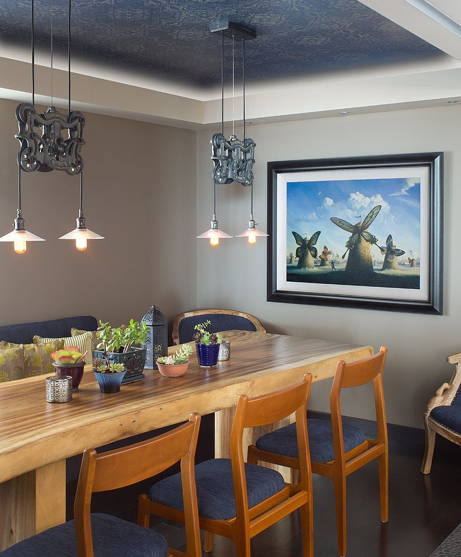 Beautiful blue Asian dining room with lovely pendant lighting [Design: domusstudio architecture]