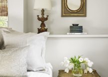 Bedside nesting tables in gold for the shabby chic bedroom in white
