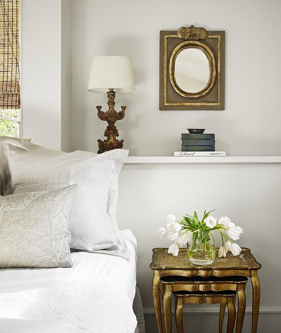 Bedside nesting tables in gold for the shabby chic bedroom in white [Design: Hugh Jefferson Randolph Architects]