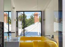 Bespoke fiberglass bathtub in bright yellow for the bathroom