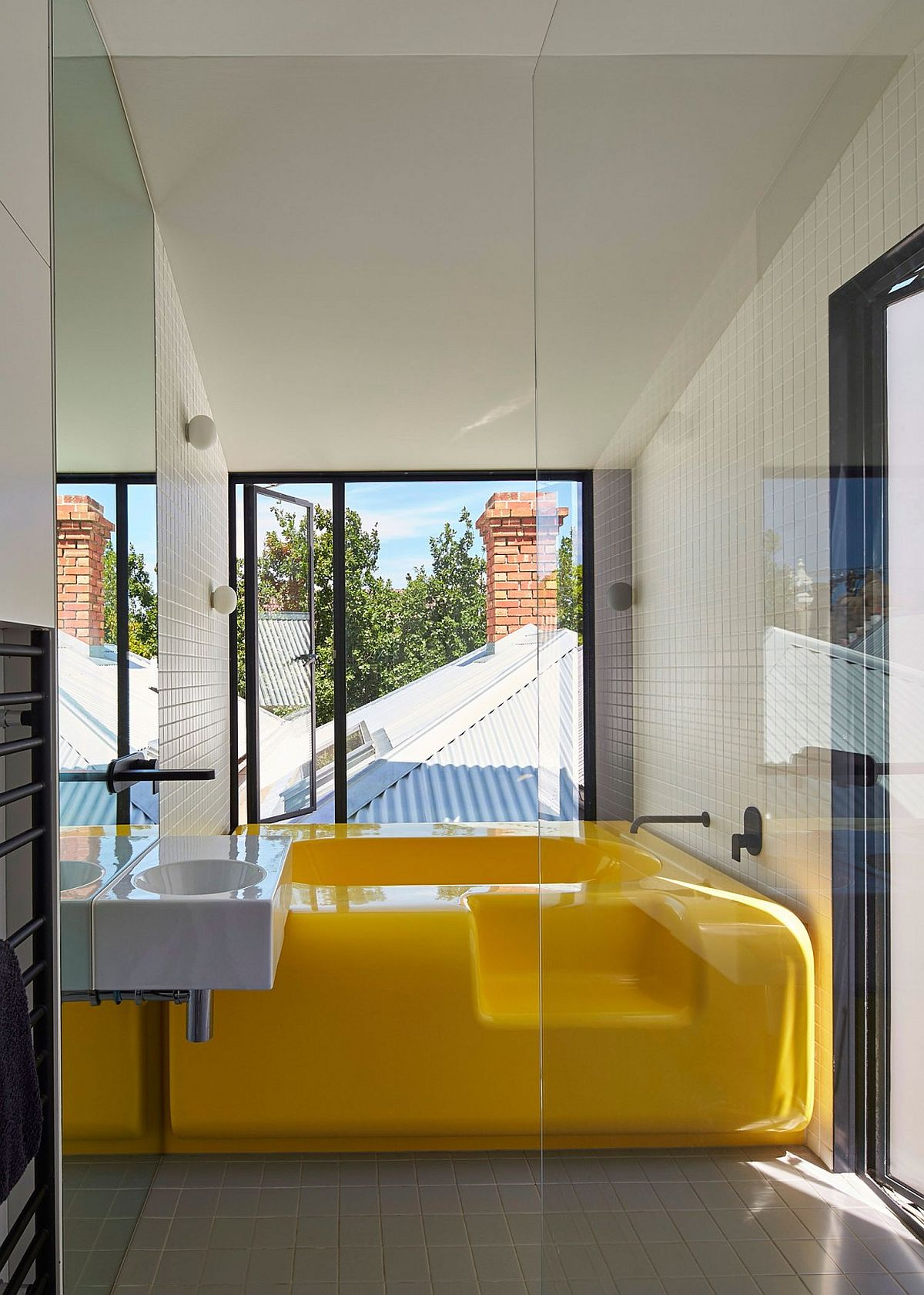 Bespoke fiberglass bathtub in bright yellow for the bathroom