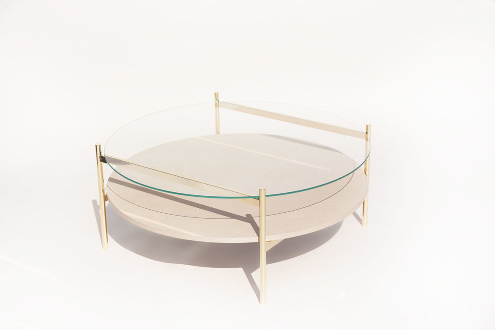 Birch and brass coffee table from Yield