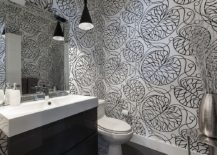 Black and white Marimekko patterned wallpaper for the contemporary bathroom