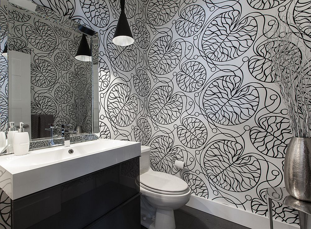 Black and white Marimekko patterned wallpaper for the contemporary bathroom [Design: Becki Peckham]