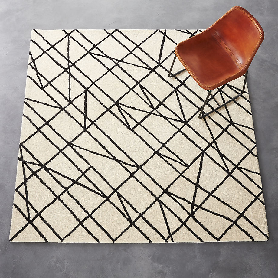 Black and white linear rug from CB2
