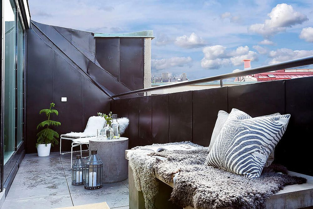 Black balcony railing offers plenty of visual contrast