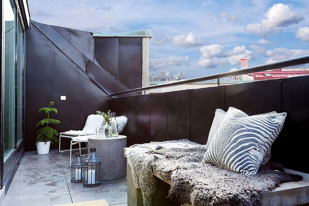Black balcony railing offers plenty of visual contrast