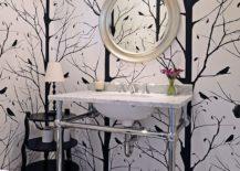 Blackbird wallpaper for the black and white powder room