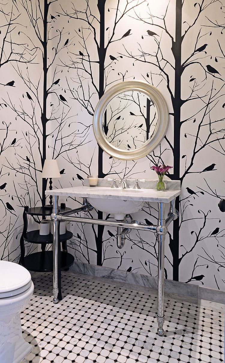 Blackbird wallpaper for the black and white powder room [Design: Carolyn Reyes]