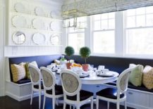 Blue and white banquette dining with built in storage underneath 217x155 Space Saving Design: 25 Banquettes with Built in Storage Underneath