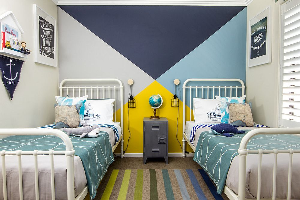 Blue and yellow work ever so beautifully together in this beach style kids' room [Design: Young Folk - Melissa Lee / Photography by Richard Lee]
