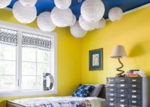 Blue ceiling in the kids bedroom is a showstopper 217x155 Trendy and Timeless: 20 Kids' Rooms in Yellow and Blue