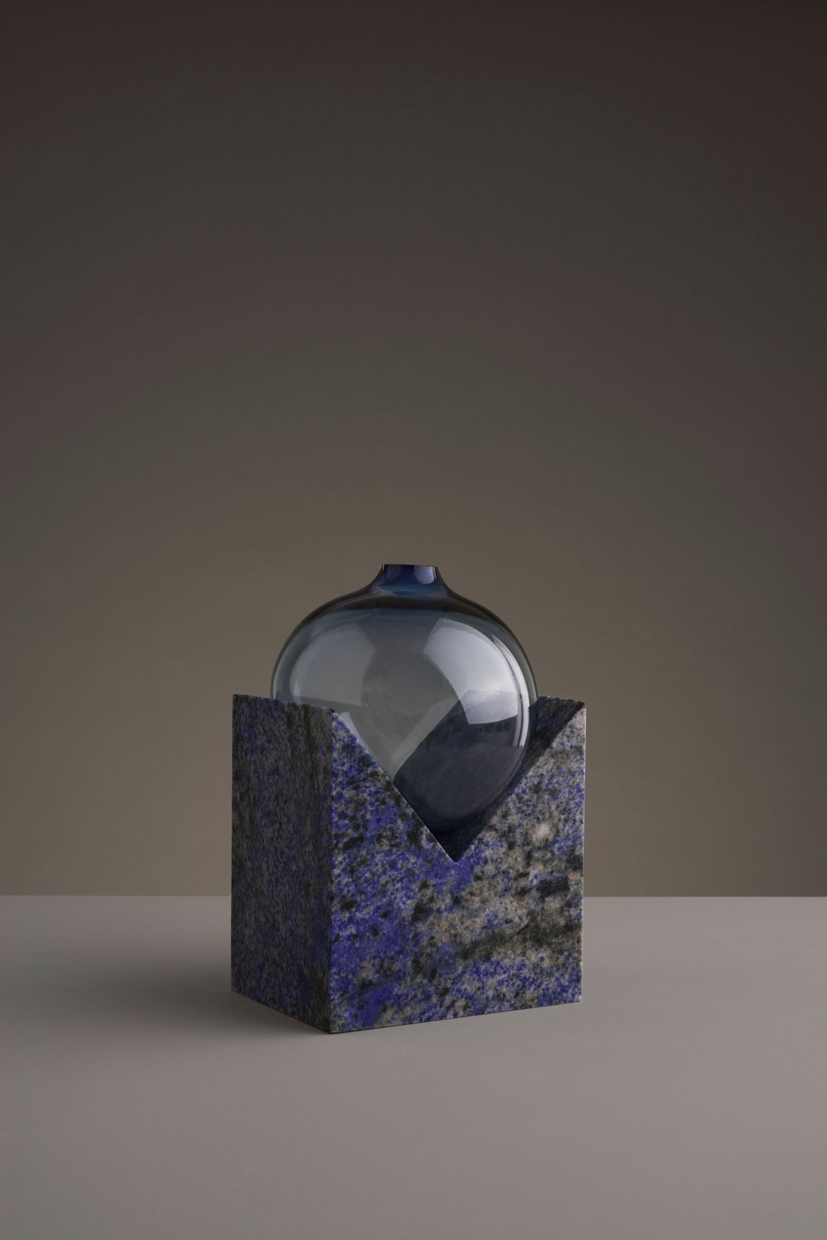 Blue glass and stone vase from Studio E.O
