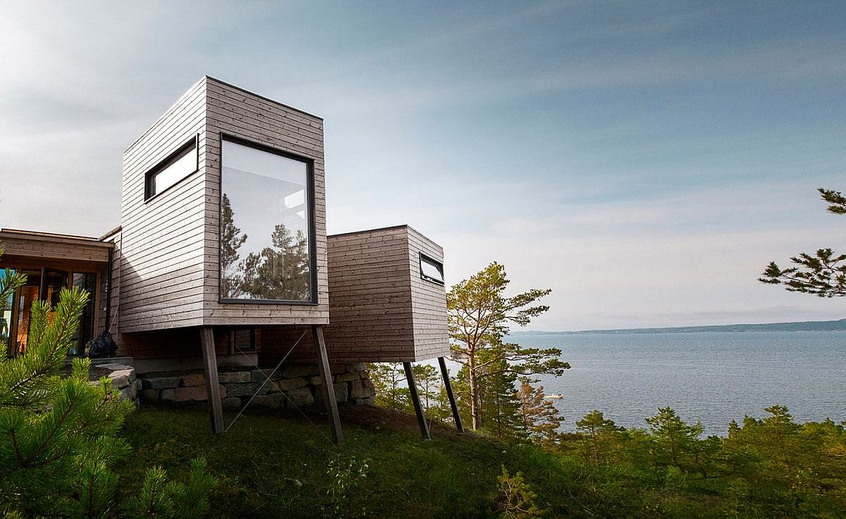 Box-like wooden units give the a cabin a modern classic vibe