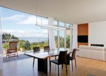 Breezy dining space opens up to the view outside