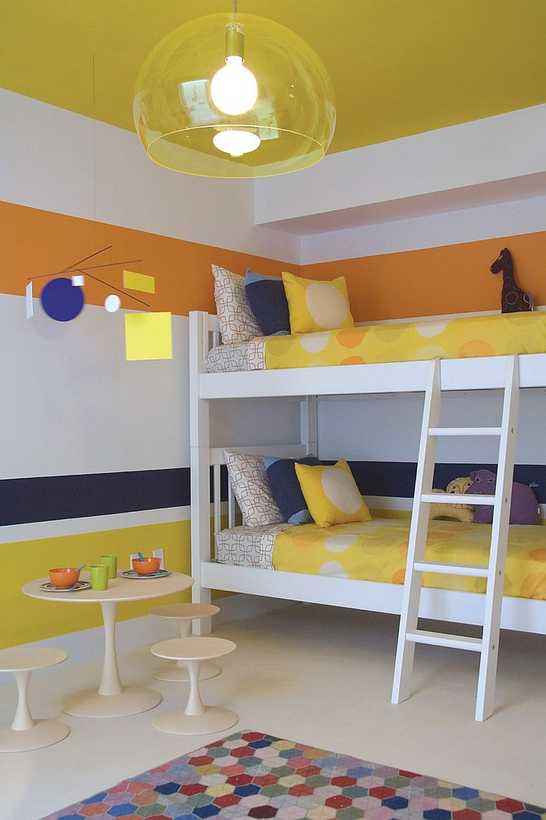 Bright modern kids' room in yellow, blue and orange [Design: Amy Lau Design]