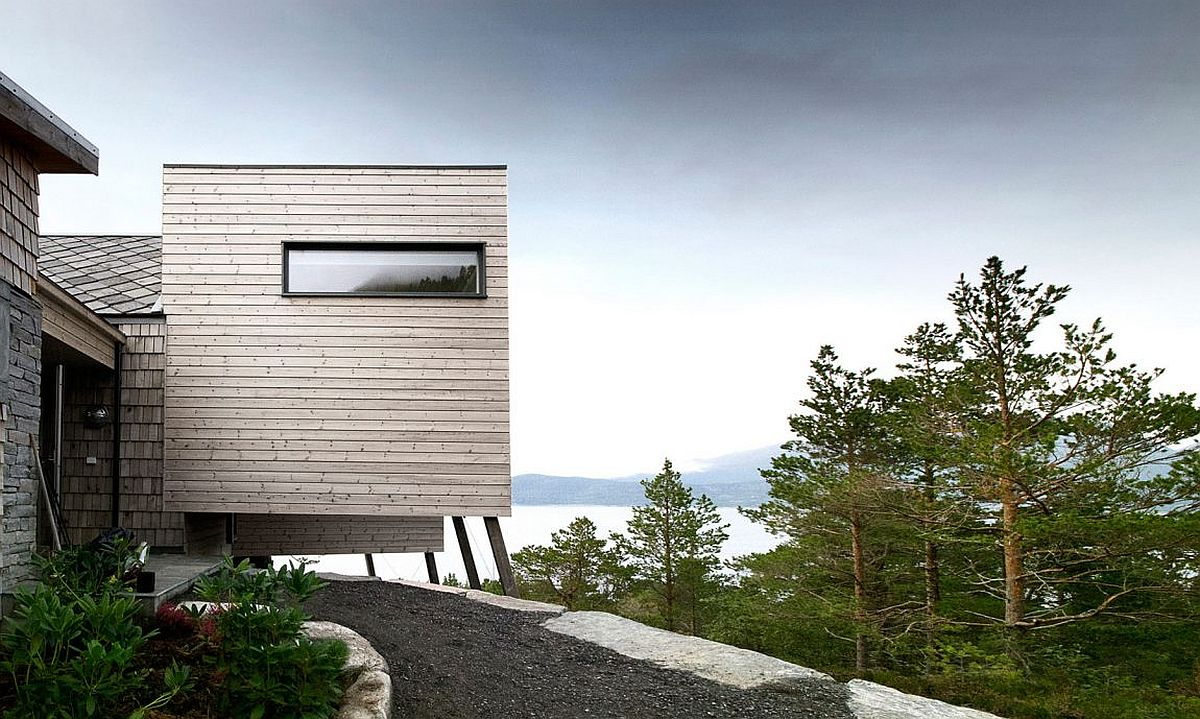 Cantilevered structure of the modern cabin with ocean views in Norway