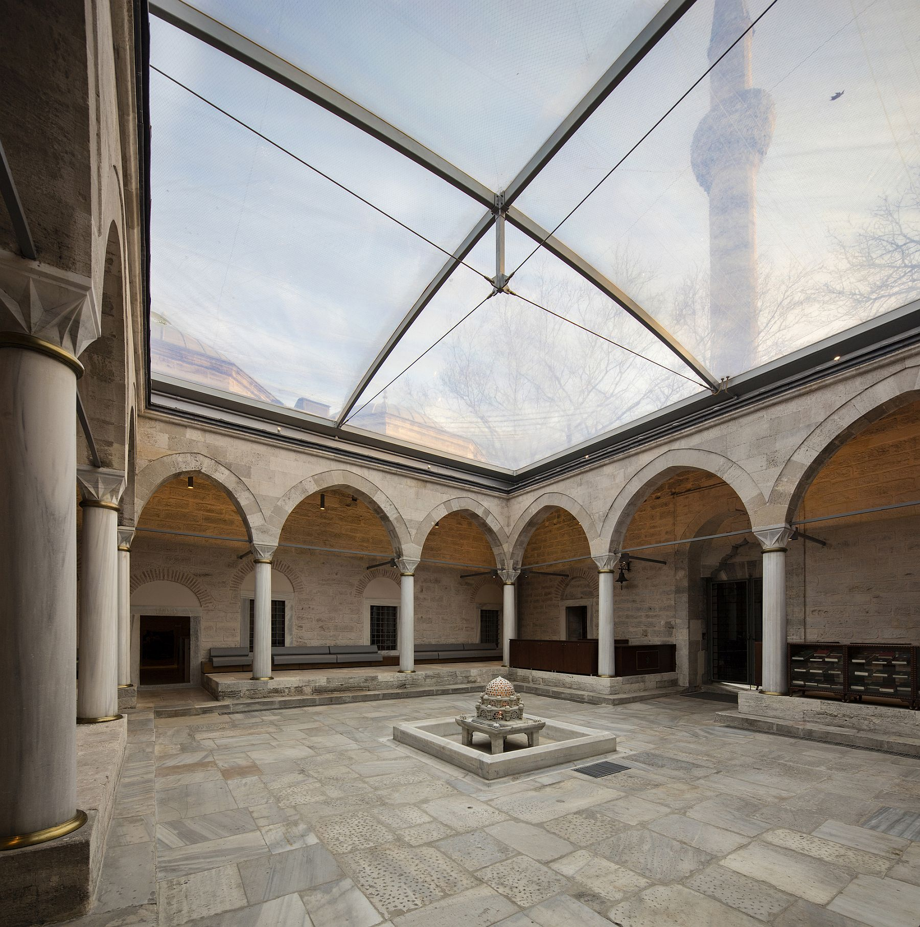 Ceentral courtyard of the librray with a new glass dome