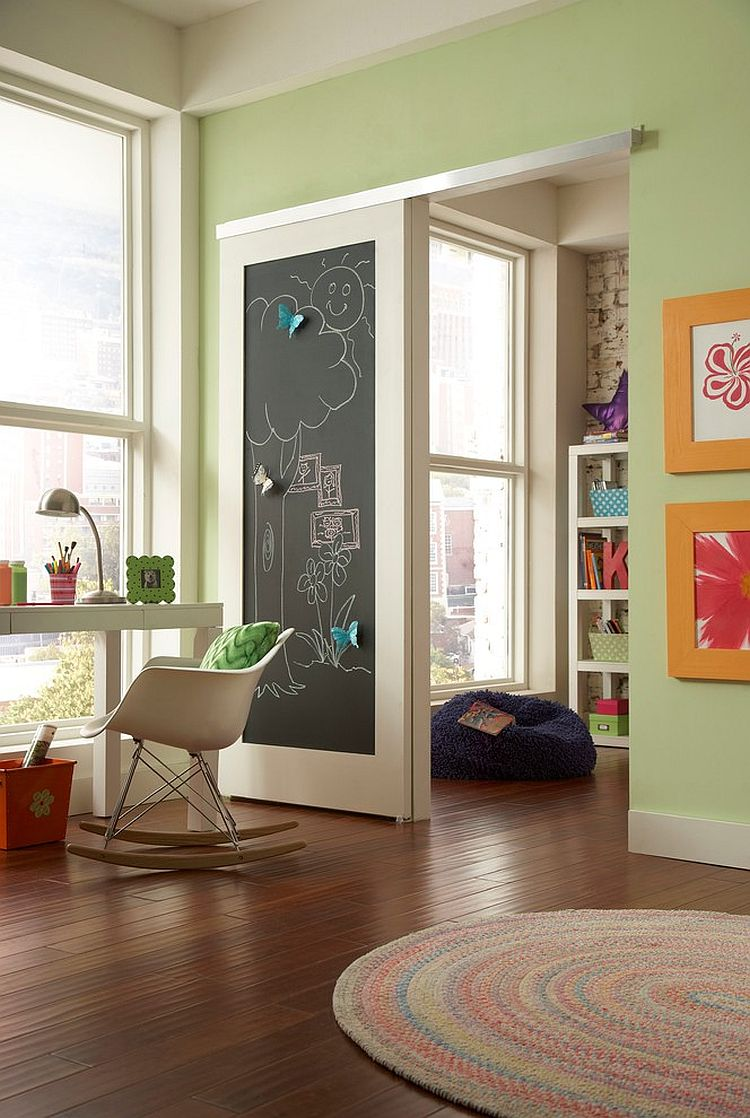 Chalkboard sliding barn-style door for the modern playroom [Design: Johnson Hardware]