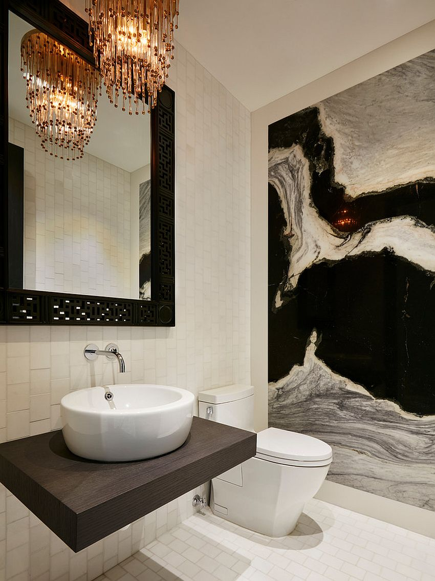 Always on trend 20 powder rooms in black and white - Tiny powder room ideas ...
