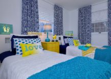 Cheerful combination of yellow and blue in the stylish kids' bedroom