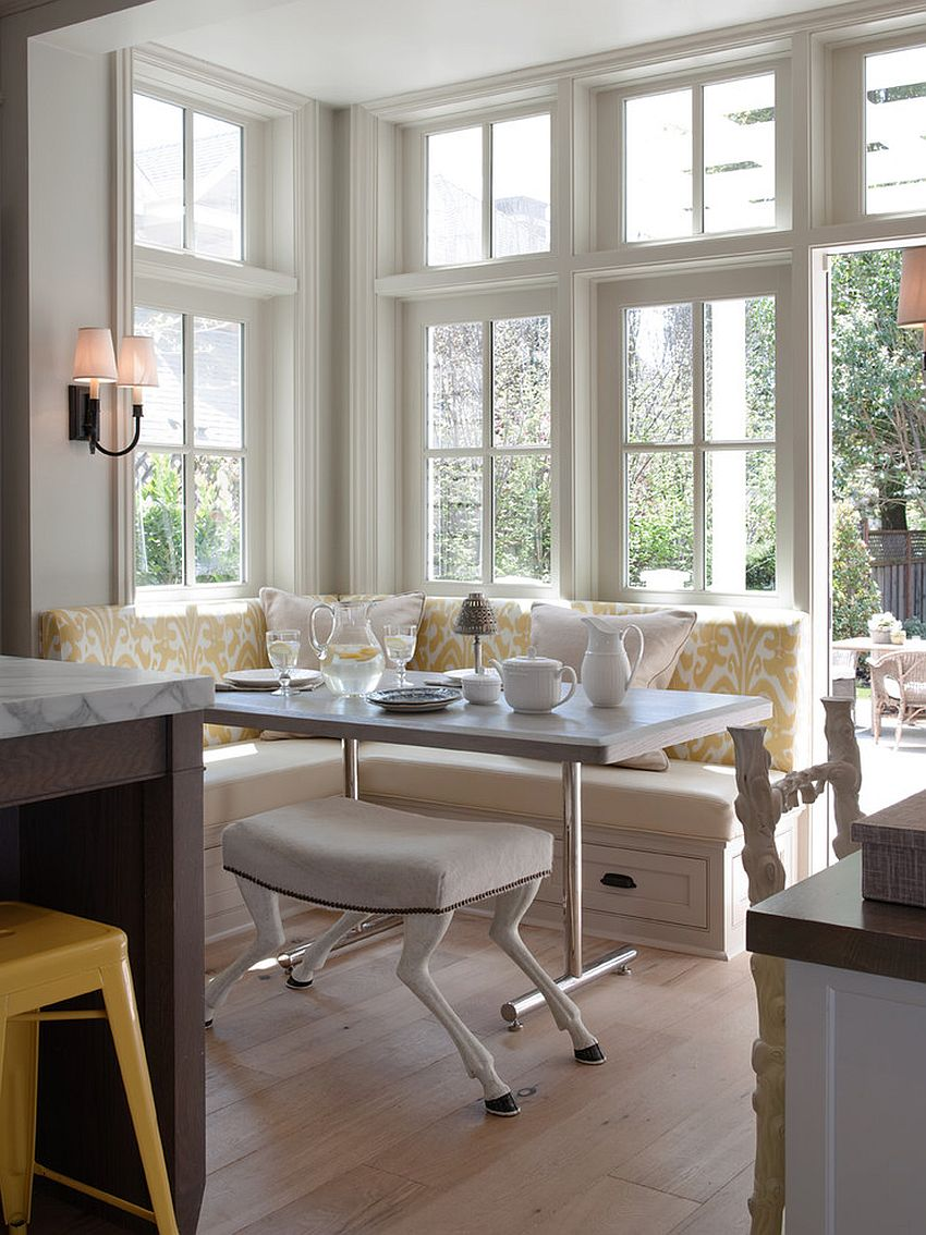 Classic cottage style banquette design with built-in storage [From: Heydt Designs / Benjamin Dhong Interiors & David Duncan Livingston Photography]