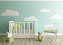 Cloud nursery accent wall