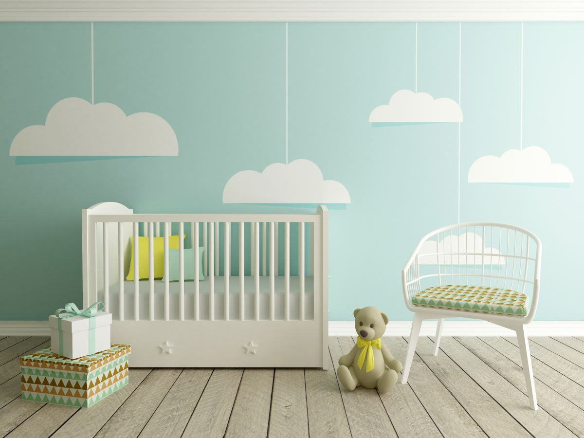 Cloud nursery accent wall