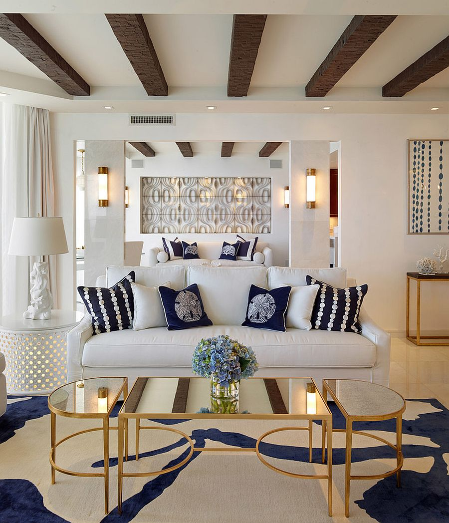 ... Coastal Inspired Living Room With Coffee Table In Gold And Mirrored Top  [Design: Seed