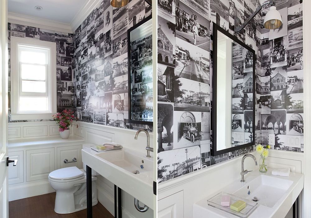 Collage of black and white photographs for the small powder room [From: Lindsay Chambers Design]