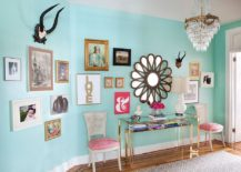 Colorful entry of Philadelphia penthouse with a beautiful gallery wall 217x155 25 Captivating Entryways That Embrace the Beauty of the Gallery Wall
