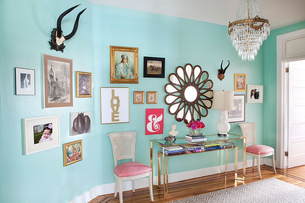 Colorful entry of Philadelphia penthouse with a beautiful gallery wall [From: Caitlin Wilson Design / Apple Photography]