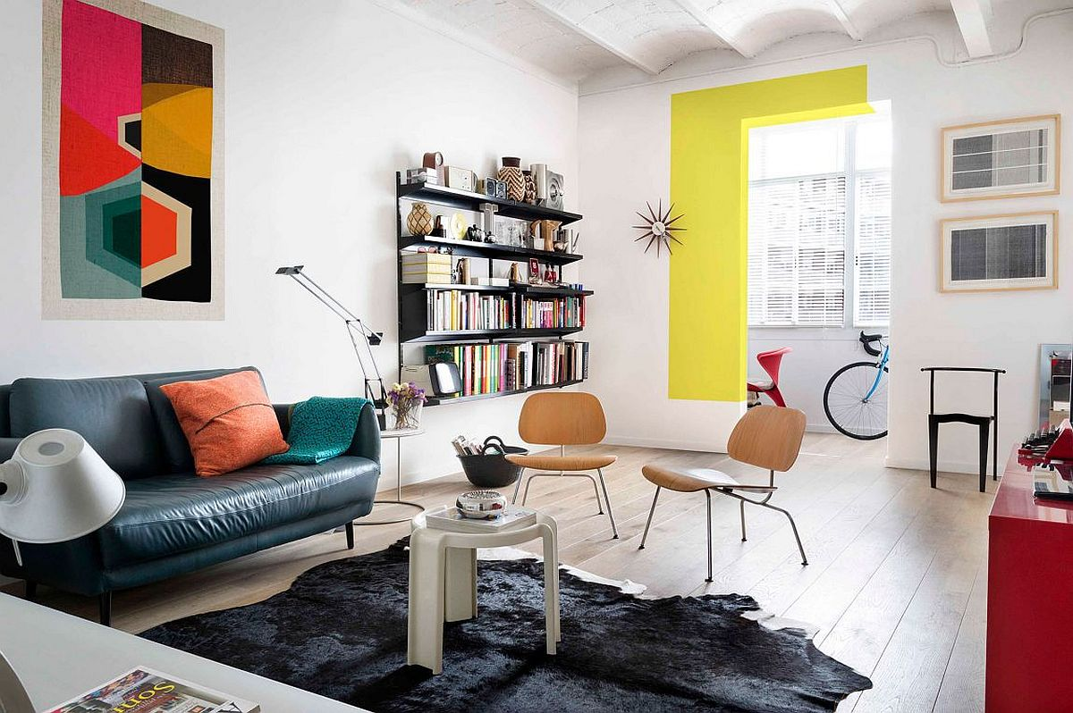 Colorful living room of renovated private residence in Barcelona Beautiful Blocks of Color Bring Personality to Smart Barcelona Apartment