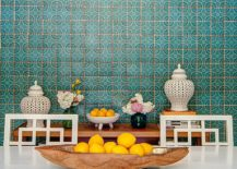 Colorful tiled backdrop brings Moroccan zest to contemporary dining space