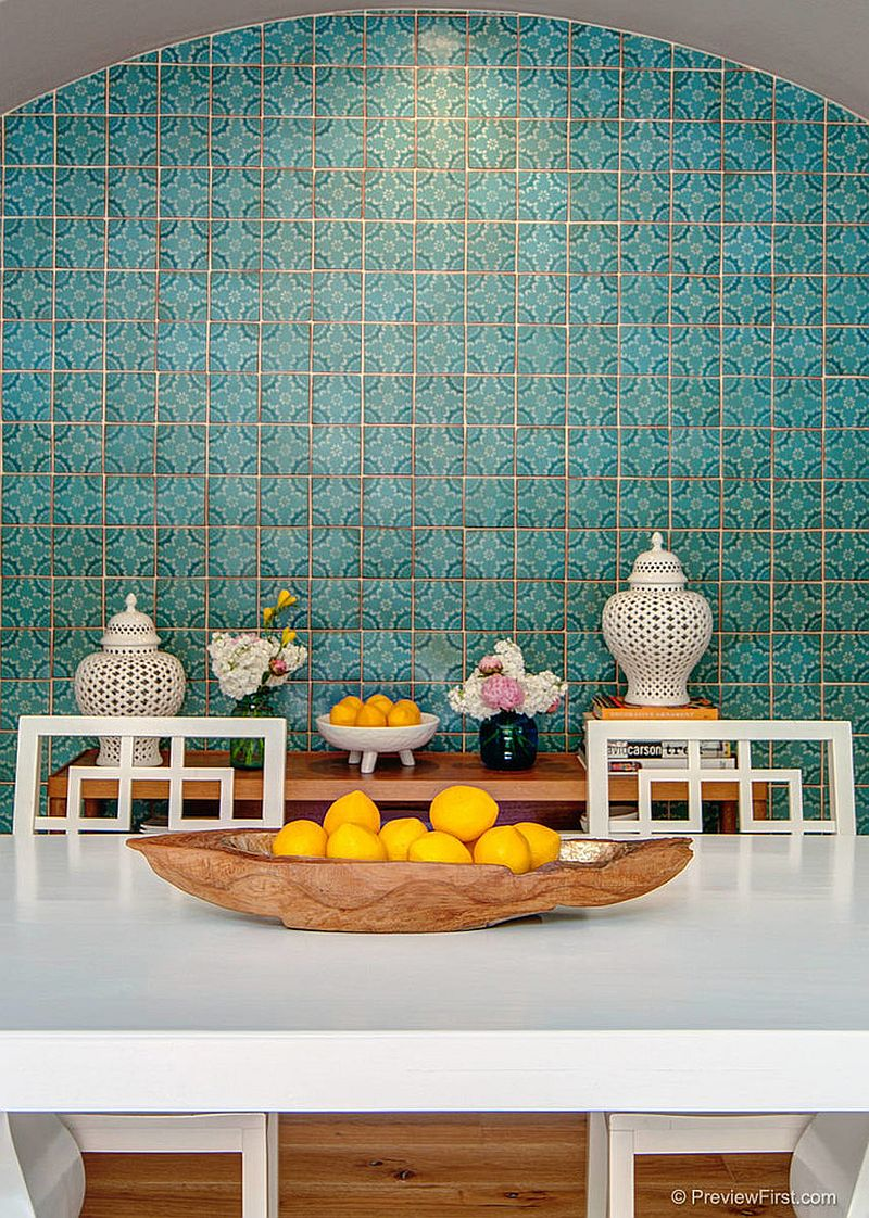 Colorful tiled backdrop brings Moroccan zest to contemporary dining space [Design: 4 CORNERS: International Design Concepts]