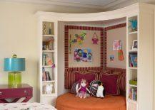 Comfy corner hangout and shelf space in the kids' bedroom