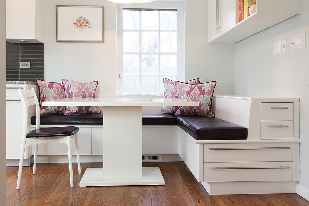 ... Contemporary Banquette With Storage Maximizes The Kitchen Corner Space  [Design: Krieger + Associates Architects