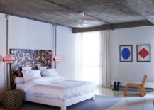 Contemporary bedroom in white with fabulous bedside lighting